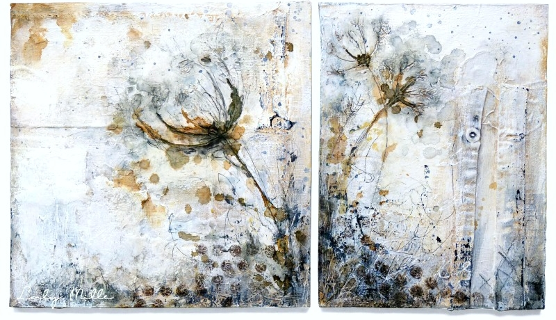 Inflorescence 1 - mixed media on wood © 2015 Laly Mille