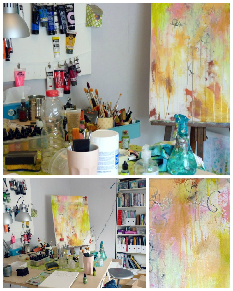 ... et Flow 2 en cours dans mon nouvel atelier © 2015 Laly Mille