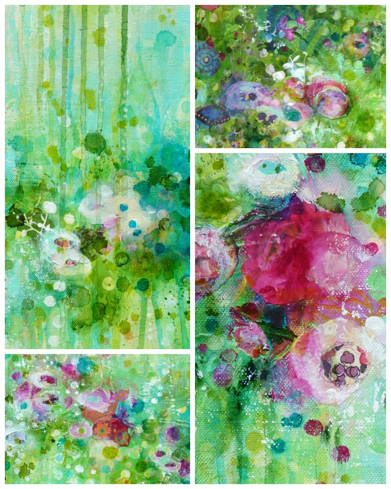 Des fleurs émergeant de gouttes d'encres, de traces de doigts et de mini bouts de papier © 2015 Laly Mille
