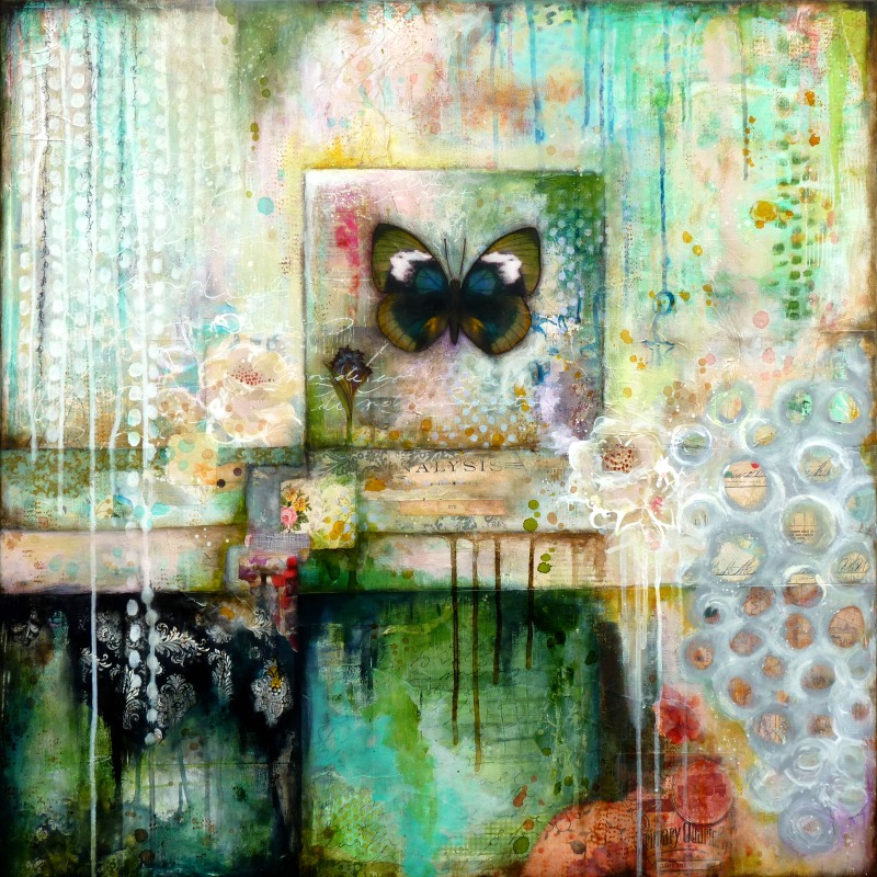 "Dreamtime  - Mixed media painting on canvas (31,5"" x 31,5″) © 2016 Laly Mille"