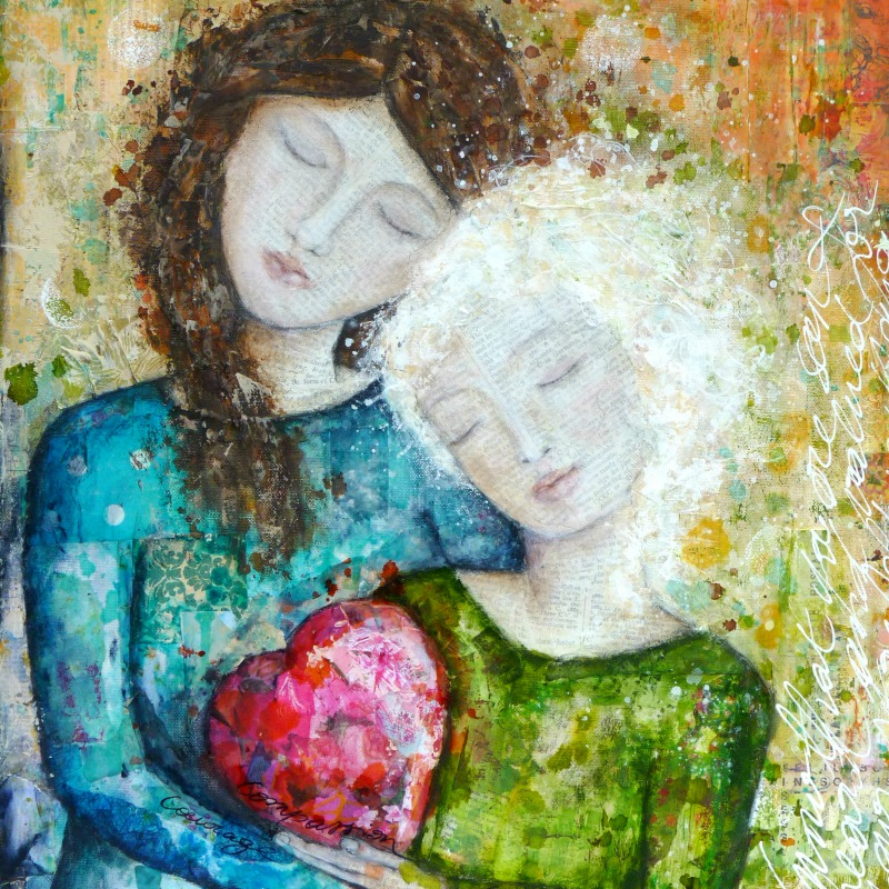 """Compassion"", mixed media sur toile"