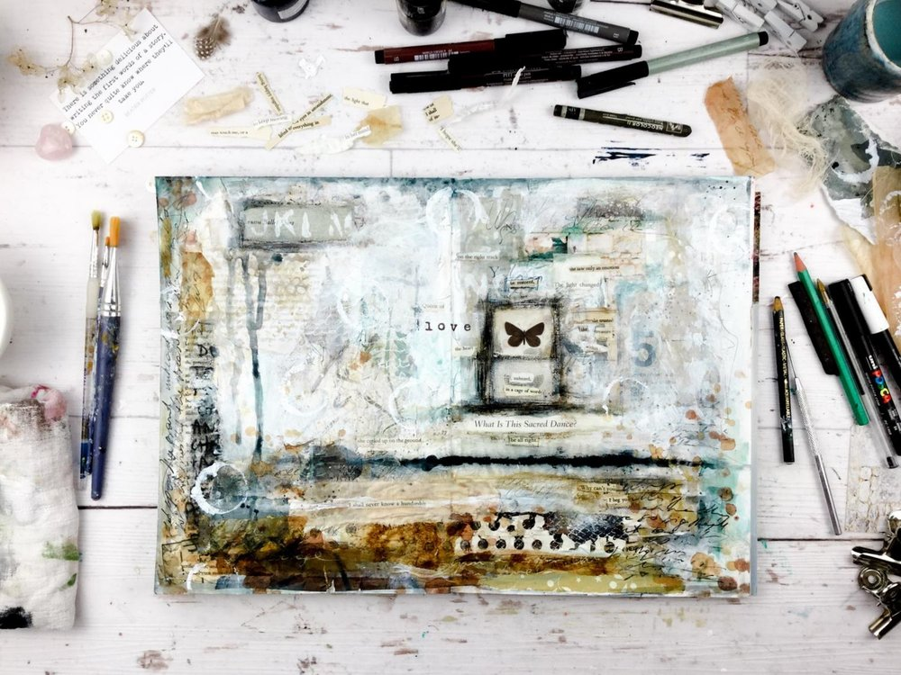 """This page is from the """"intuitive journaling"""" lesson in my upcoming class  The Artist & the Journal"""
