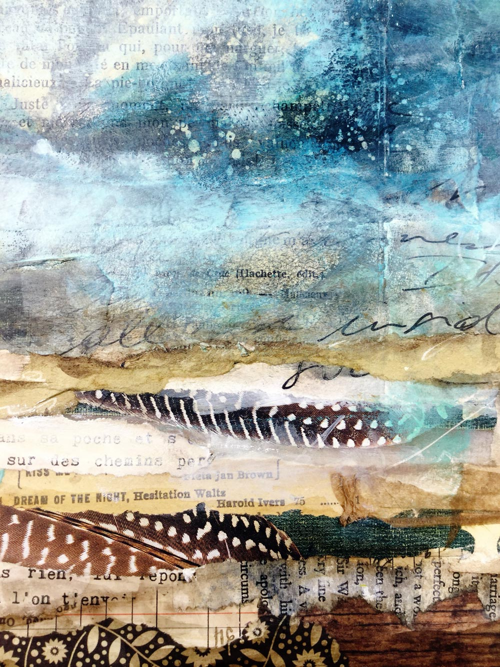 """Laly Mille - Layered abstract landscape in my journal. """"The Artist & the Journal"""" mixed media painting and art journaling online class"""