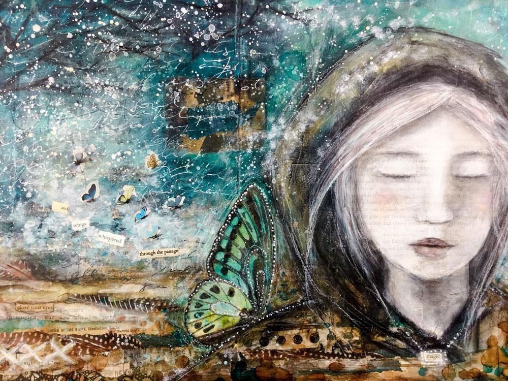 """Laly Mille """"Trouver ses Ailes"""" - Page de l'atelier Journal d'Artiste https://www.lalymille.com/journaldartiste"""