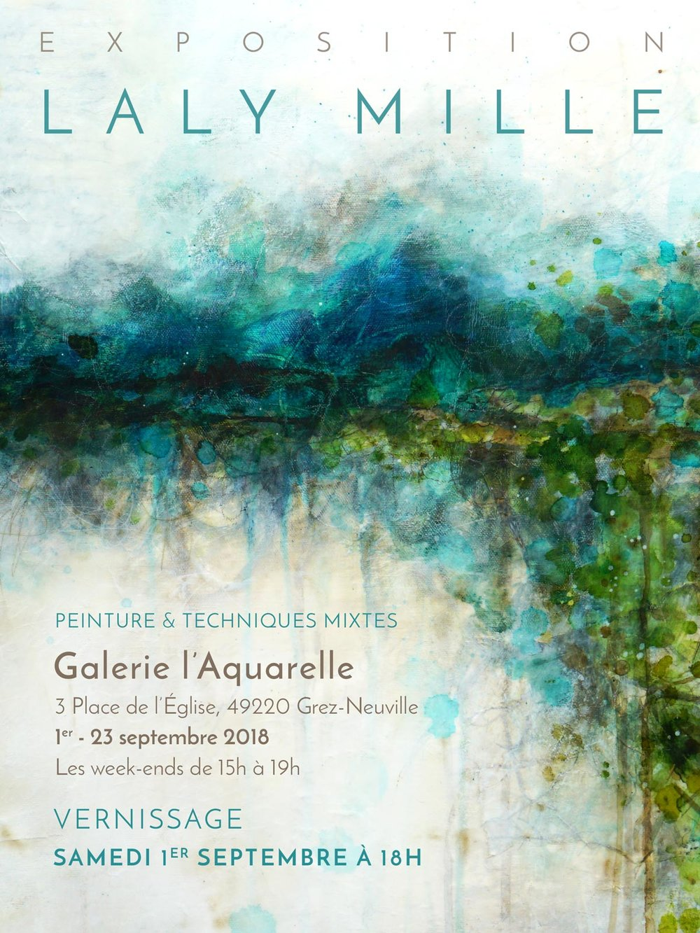Laly Mille - exposition à la Galerie l'Aquarelle, Grez-Neuville, septembre 2018