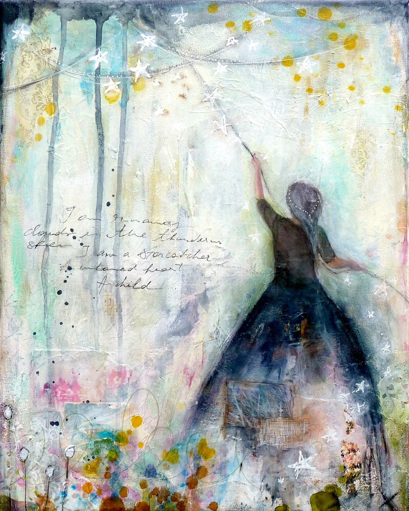 Laly Mille - Star Catcher mixed media painting