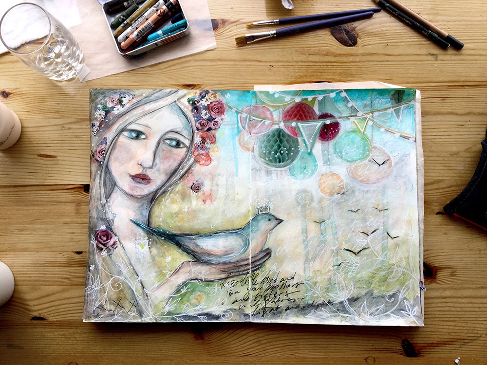 """Fly Home"" Page de Journal d'Artiste - Laly Mille"