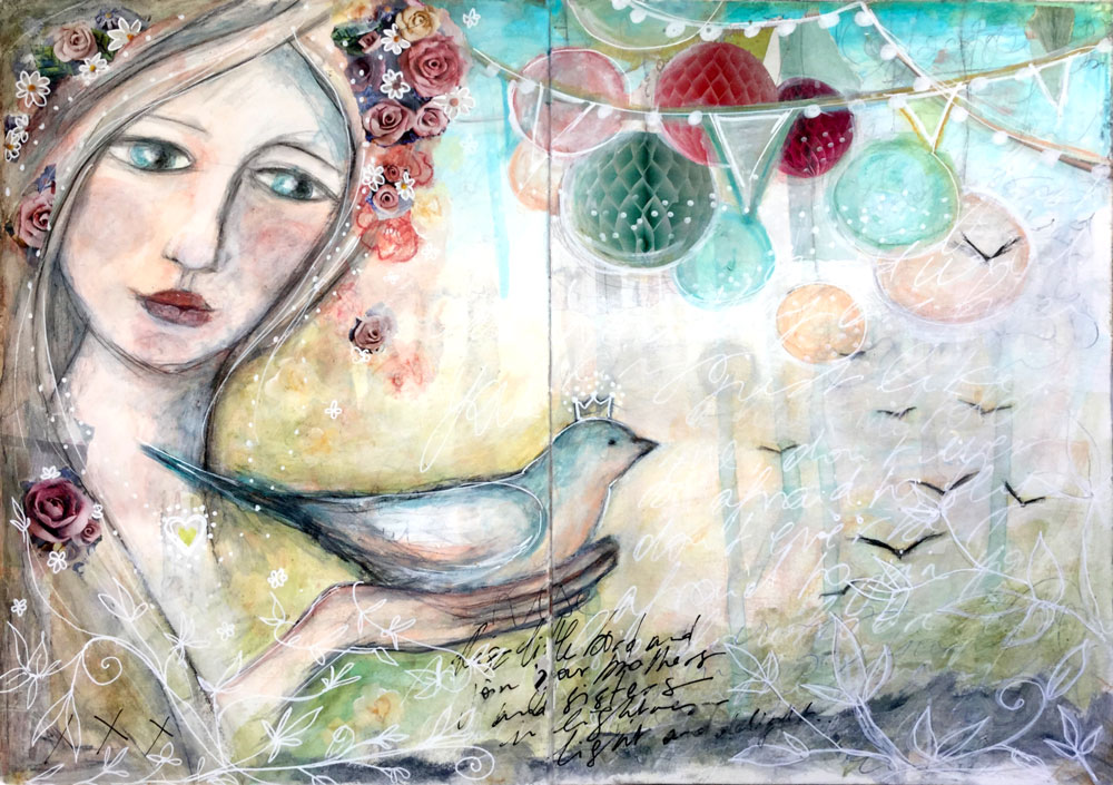 """Fly Home"" Art Journal Page by Laly Mille"