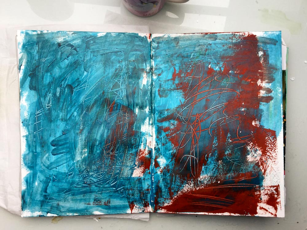 """""""The Whole Story"""" Art Journal Page in progress - Laly Mille. First layer: leftover paint"""