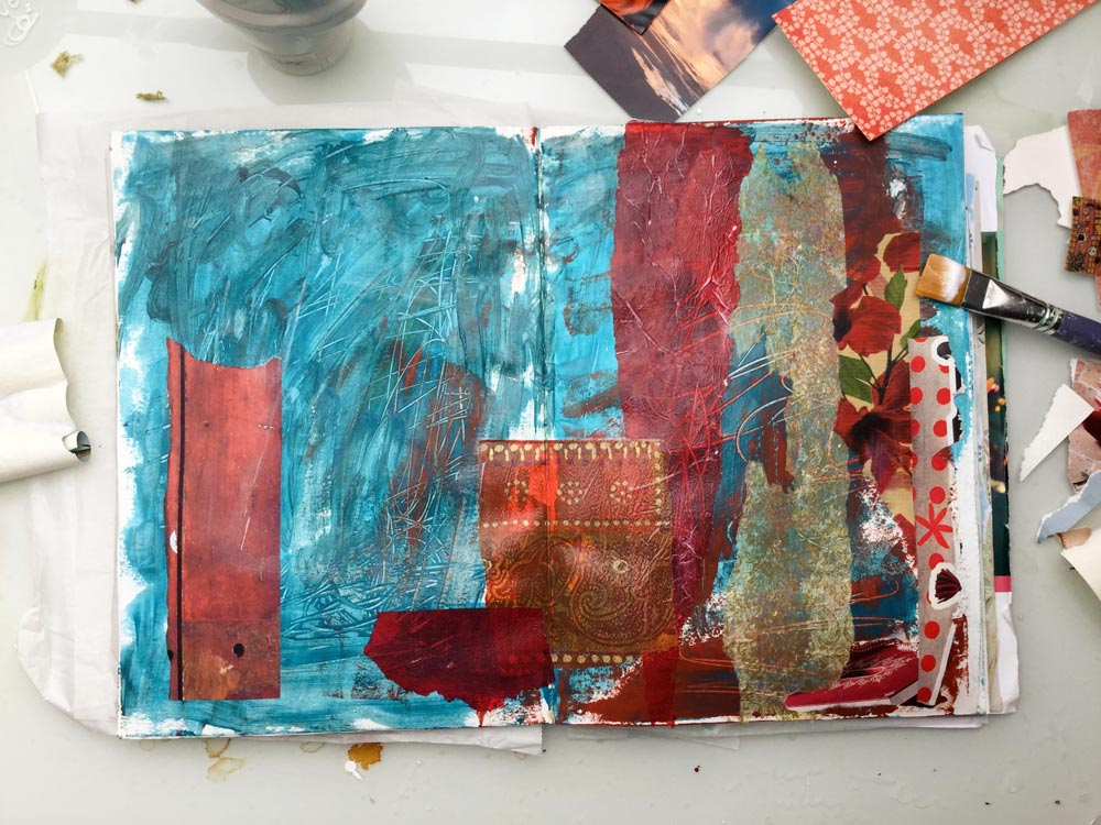 """""""The Whole Story"""" Art Journal Page in progress - Laly Mille. Second layer: collage"""