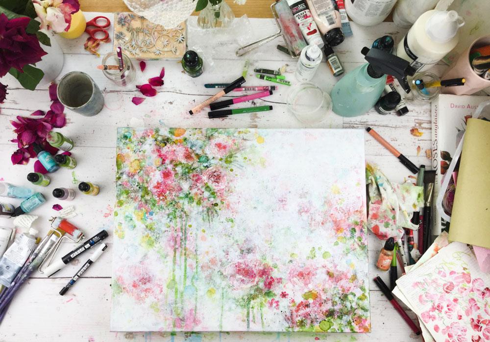 La vie en Roses - Atelier Floral Abstrait en Mixed Media avec Laly Mille