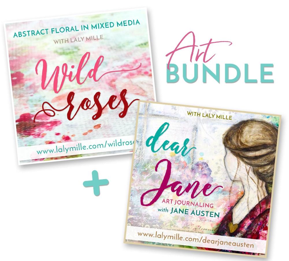 Romantic Bundle: Wild Roses + Dear Jane, online art classes with Laly Mille