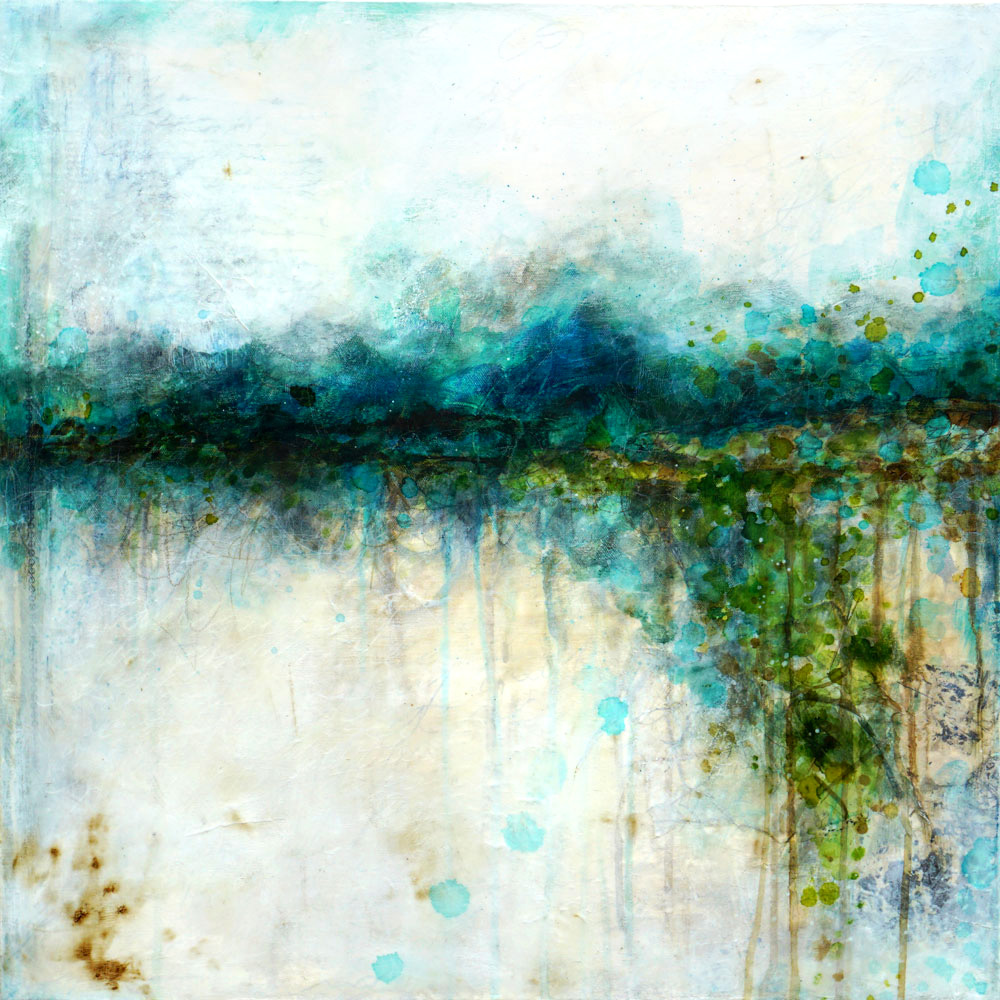 """""""Riverside"""" Mixed media painting by Laly Mille"""