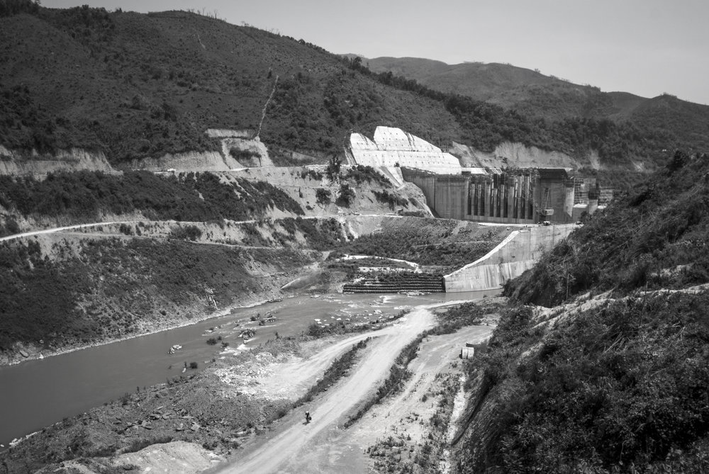 Nearing completion of a hydroelectric dam on the Nam Ou, northern Laos, May 2015.
