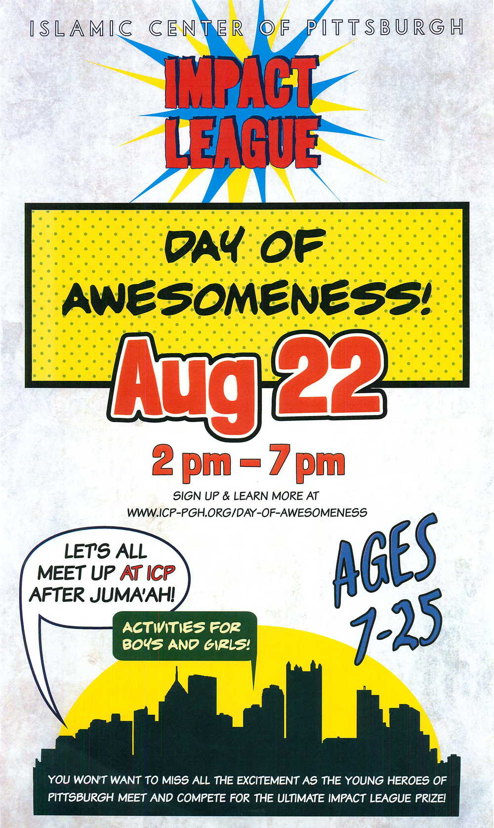 Promotional poster for a comic-book-themed youth even at the Islamic Center of Pittsburgh