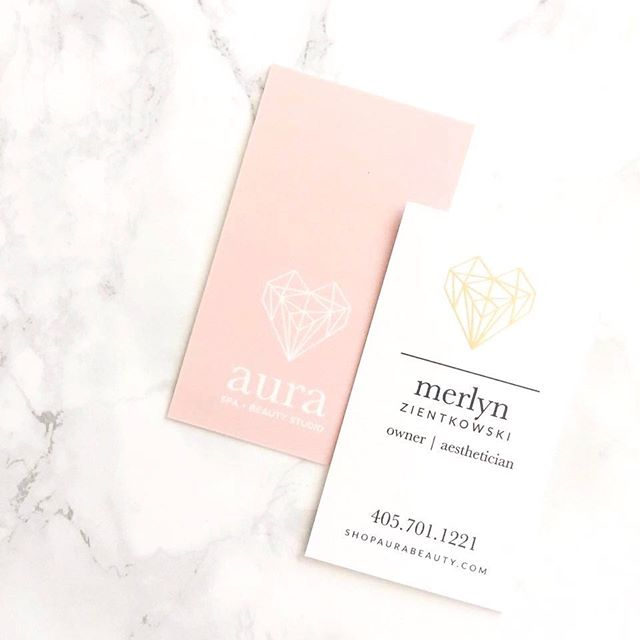 Client LOVE @shopaurabeauty_ 💖 Here is a look at how we translated their logo and icon on their business card. We used a soft touch paper stock with a gold foil accent. It's even dreamier in person.
