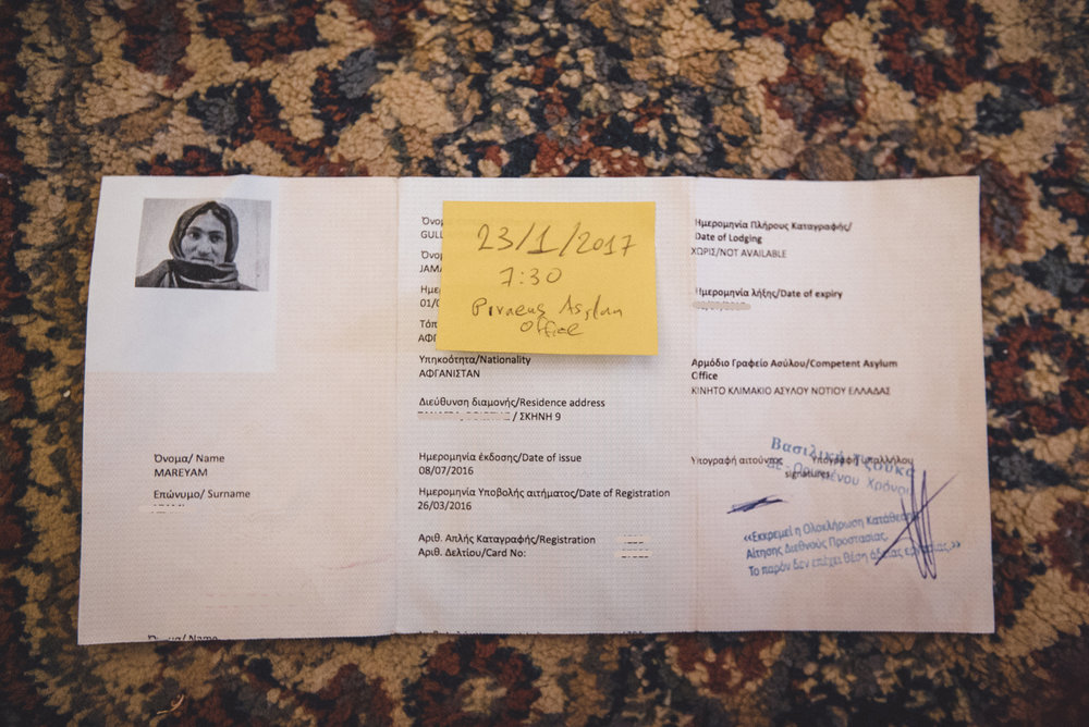 If you look closely, you'll see a full 4 months between registration and issue of the papers. According to UNHCR's site, the average time a refugee is uprooted and in need before they can return home is 20 years. The sticky note was for her asylum interview/application process, from which they still haven't heard back (As of September 11, 2017).