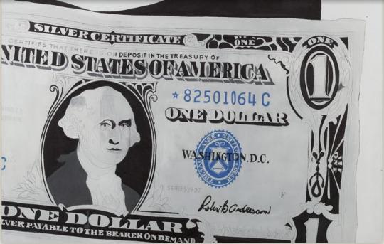 "Andy Warhol, ""One Dollar Bill (Silver Certificate)"" (1962). Image credit: artnet ."