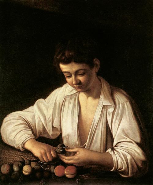 "Michelangelo Merisi da Caravaggio, ""Boy Peeling Fruit"" (ca. 1591). Image credit: Wiki ."