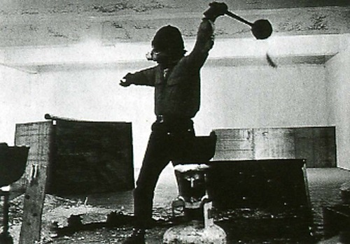 "Richard Serra, ""Throwing Lead at Leo Castelli's Warehouse"" (1968). Image credit: C4 Gallery."