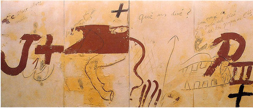 "Antoni Tàpies, ""Les quatre croniques"" (1990). Image credit:  Lights Going On ."