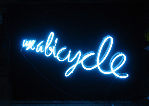 "Rainer Ganahl, ""Use a Bicycle"" (2006). Image credit:  Rainer Ganahl ."