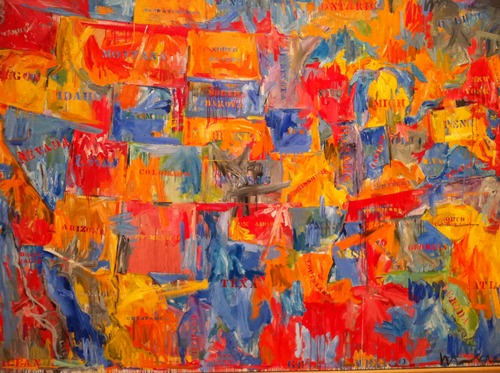 "Jasper Johns, ""Map"" (1961). Image credit: Where the Giraffe Lives."