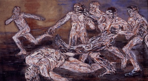 "Leon Golub, ""Gigantomachy III"" (1966). Image credit: Diane Thodos ."