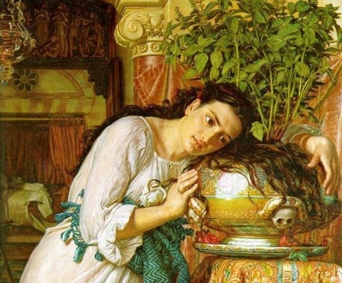 "William Holman Hunt, detail from ""Isabella and the Pot of Basil"" (1867). Image credit:  Valancy's Corner ."