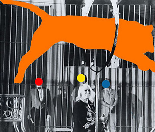 "John Baldessari, ""Tiger (Orange) and Trainer: With Three Figures (Red, Yellow, Blue)"" (2004). Image credit: Art Mag by Deutsche Bank."