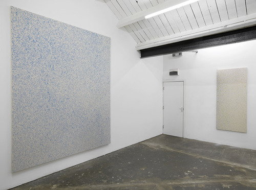 "Lucien Smith, ""Rain Paintings,"" installation view at Ritter / Zamet, London. Image credit:  Arrested Motion ."