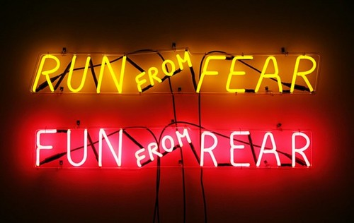 "Bruce Nauman, ""Run from Fear/Fun from Rear""   (1972). Image credit:  The Swelle Life ."