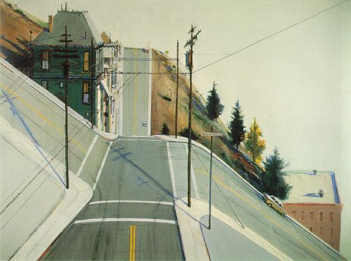 "Wayne Thiebaud, ""24th Street Intersection"" (1977). Image credit: 99% Invisible."