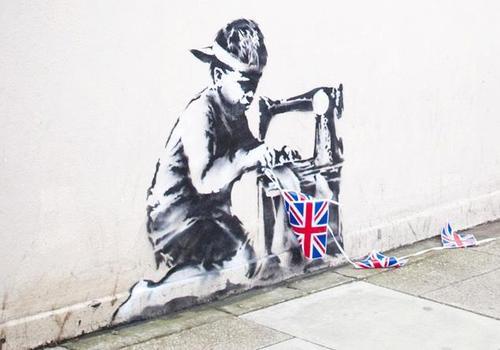 "Banksy, ""Slave Labour"" (2012). Image credit: 12 oz. Prophet ."