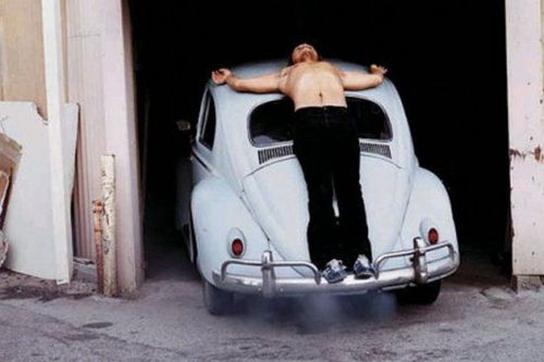 Chris Burden, Trans-fixed (1974). Image credit:  WTF Art History .