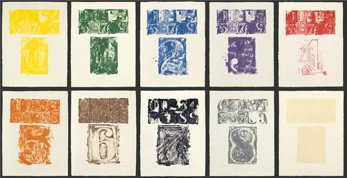 "Jasper Johns, ""0-9"" (1963). Edition of 10. Image credit:  Deutsche Bank ."