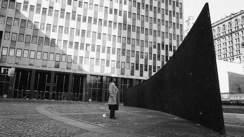 "Richard Serra. ""Tilted Arc"" (1981). Image credit: Shubin + Donaldson ."