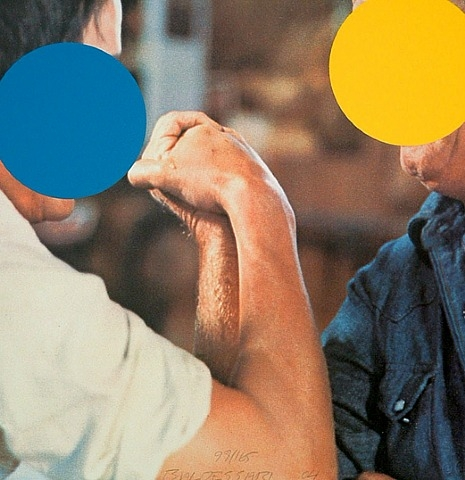 "John Baldessari, ""Two Opponents (Blue & Yellow)"" (2004). Image credit: The Annex Galleries."