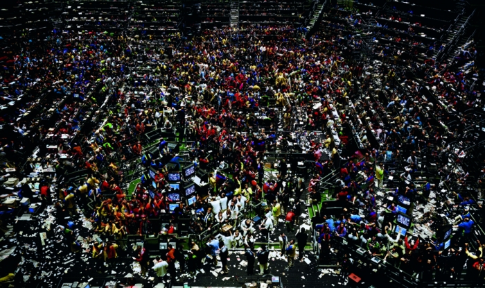 "Andreas Gursky, ""New York Stock Exchange"" (1991). Image credit:  American Suburb X ."