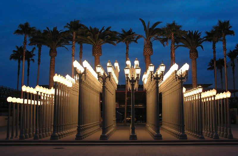 "Chris Burden. ""Urban Light"" (2010). Collection of LACMA. Richard Rownak via  Minimal Exposition ."