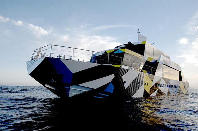 "Jeff Koons, ""Guilty"" (2013). Custom-designed 115-foot yacht owned by Dakis Joannou. Image credit: Fubiz."