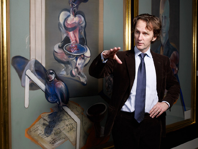Tobias Meyer with a Francis Bacon painting. Image credit: Neil Bridge.
