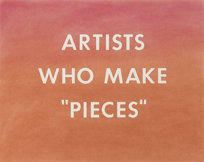 "Ed Ruscha, Artists Who Make  ""Pieces"" (1976). Image credit: The National Gallery."