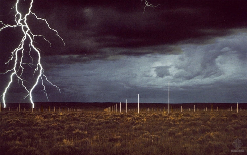 "Walter De Maria, ""The Lightning Field"" (1977). Image credit: The Guardian."