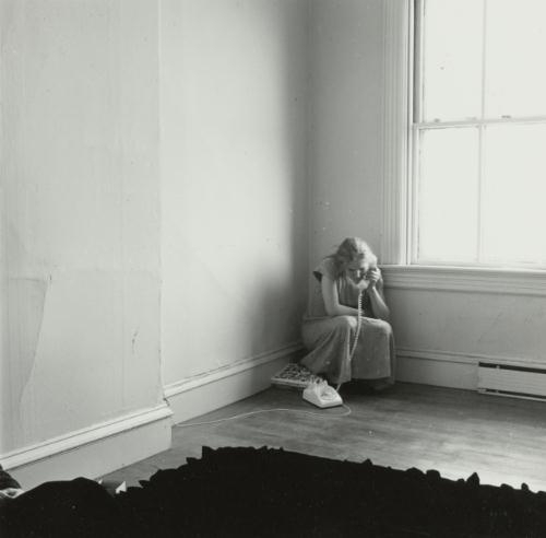 "Francesca Woodman, ""Untitled, Providence, Rhode Island (Self-portrait on the Telephone)"" (1975-76). Image credit: CLVT Nation."