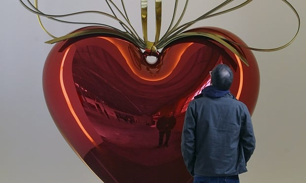 "Jeff Koons, ""Hanging Heart (Red/Gold),"" 1994-2006. Image credit: The Guardian."