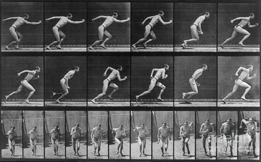 "Eadweard Muybridge, ""Locomotion: Man Running,"" 1887. Image credit:  Fine Art America ."