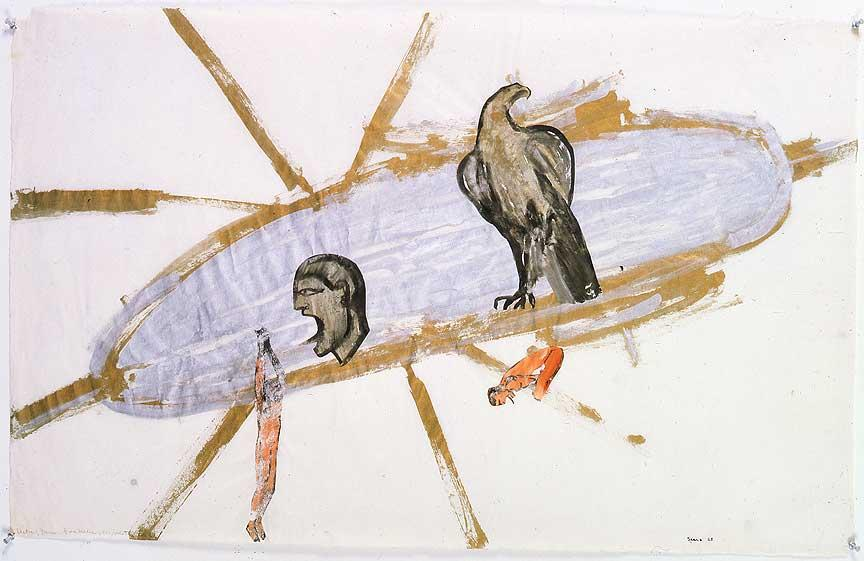 "Nancy Spero, ""Victims Thrown from the Helicopter,"" 1970. Image credit:  Study Blue ."
