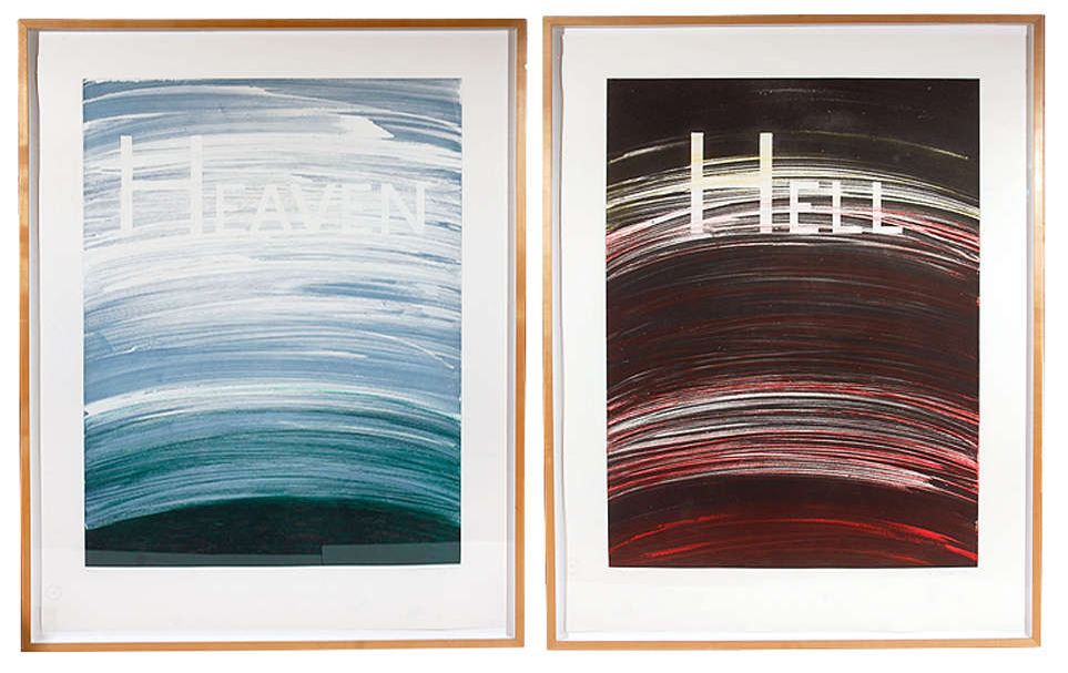 "Ed Ruscha, ""Heaven / Hell diptych,"" 1988. Image credit: 1st Dibs."