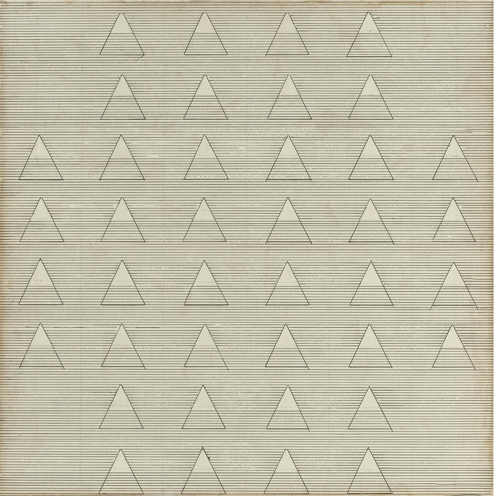 "Agnes Martin, ""Words,"" 1961. Image credit: Mutual Art."